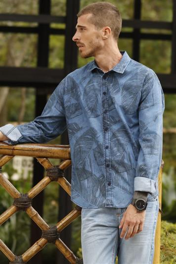 8f71fa29e2 Camisa Jeans Estampada Smart