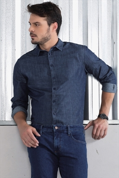 2355d63ff4 Camisa Jeans Slim Fit Detalhe Xadrez Costas