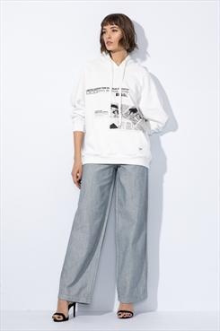 26cc6b5bf Calça Pantalona Jeans Reta Fecho Botões 1